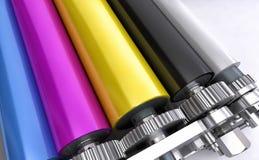 Rolos das impressoras coloridas ilustração do vetor