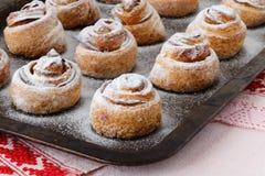 Rolos de canela cozidos frescos na bandeja de aço do cozimento Cinnam caseiro Imagens de Stock