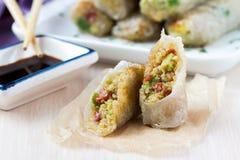 Rolos de mola asiáticos enchidos com quinoa, vegetais Fotografia de Stock