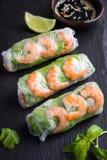 Rolos de mola com camarões e vegetais Fotografia de Stock