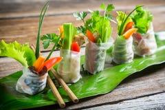 Rolos de mola frescos envolvidos no papel de arroz Foto de Stock Royalty Free