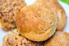 Rolos de pão fresco com as sementes do girassol e de sésamo Foto de Stock Royalty Free