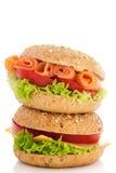 Rolos de pão fresco com propagação Fotografia de Stock
