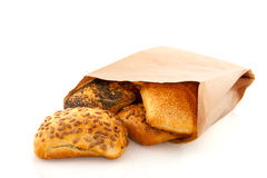 Rolos de pão luxuosos no saco de papel Foto de Stock Royalty Free
