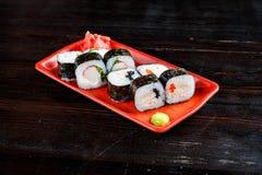 Rolos de sushi ajustados imagem de stock royalty free