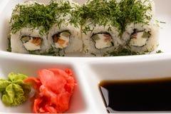Rolos de sushi com aneto Foto de Stock Royalty Free