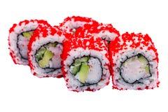 Rolos de sushi com o caviar isolado no fundo branco Foto de Stock Royalty Free