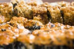 Rolos de sushi com salmões, o caviar preto e o tiro do macro do close-up do sésamo Imagens de Stock