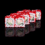 Rolos de sushi com varas e pepino do caranguejo Foto de Stock Royalty Free