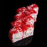 Rolos de sushi com varas e pepino do caranguejo Fotografia de Stock Royalty Free