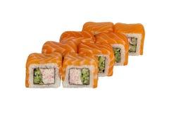 Rolos de sushi em um fundo branco foto de stock royalty free