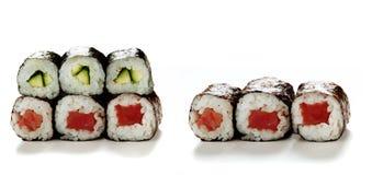 Rolos de sushi isolados Fotografia de Stock