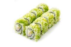 Rolos de sushi isolados, fundo branco Imagem de Stock