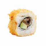 Rolos de sushi japoneses frescos em um fundo branco Fotos de Stock