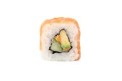Rolos de sushi japoneses frescos em um fundo branco Imagens de Stock Royalty Free