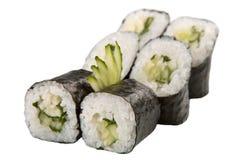 Rolos de sushi japoneses no fundo branco Imagem de Stock