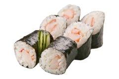 Rolos de sushi japoneses no fundo branco Imagens de Stock