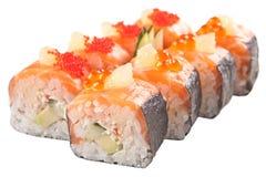 Rolos de sushi japoneses no fundo branco Fotografia de Stock Royalty Free