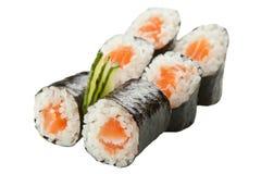 Rolos de sushi japoneses no fundo branco Imagem de Stock Royalty Free