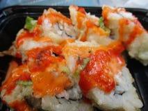 Rolos de sushi japoneses quentes e picantes Fotografia de Stock Royalty Free