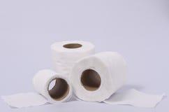 Rolos do lenço de papel isolados no fundo branco Foto de Stock Royalty Free