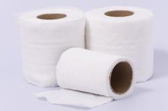 Rolos do lenço de papel isolados no fundo branco Fotografia de Stock Royalty Free