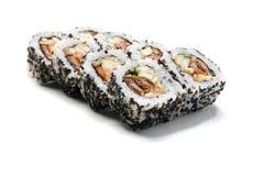Rolos do sushi isolados no fundo branco Fotografia de Stock Royalty Free