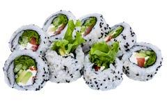 Rolos do sushi isolados no fundo branco Imagens de Stock Royalty Free
