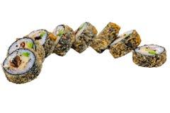 Rolos do sushi isolados no fundo branco Fotos de Stock Royalty Free