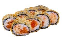 Rolos do sushi isolados no fundo branco Imagem de Stock