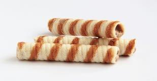 Rolos do waffle do chocolate Fotos de Stock