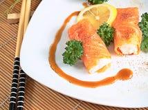 Rolos dos salmões e do queijo Imagem de Stock Royalty Free