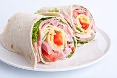 Rolos envolvidos do sanduíche do tortilla Imagens de Stock Royalty Free