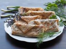 Rolos fritados apetitosos com verdes em uma tabela de madeira escura foto de stock