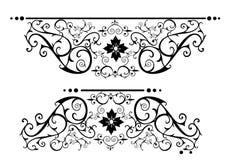 Rolos ornamentado do victorian no preto Fotografia de Stock Royalty Free