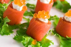 Rolos Salmon imagens de stock royalty free