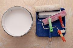 Rolownik i muśnięcie dla malować z farbą Obrazów akcesoria przygotowywający dla malować zdjęcie stock