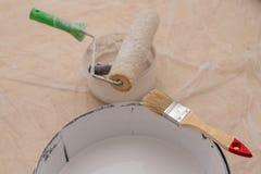 Rolownik i muśnięcie dla malować z farbą Obrazów akcesoria przygotowywający dla malować obraz royalty free