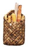 Rols of birchen bark in the basket Stock Photos