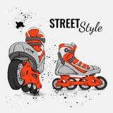 Rolschaats en Grunge-Textuurachtergrond Vector illustratie Royalty-vrije Stock Foto's