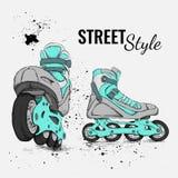 Rolschaats en Grunge-Textuurachtergrond Vector illustratie Stock Foto's