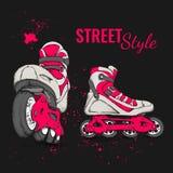 Rolschaats en Grunge-Textuurachtergrond Vector illustratie Royalty-vrije Stock Afbeeldingen