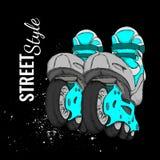 Rolschaats en Grunge-Textuurachtergrond Vector illustratie Stock Afbeeldingen