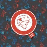 Rolschaats naadloos patroon met het pictogram van de rolderby Royalty-vrije Stock Afbeeldingen