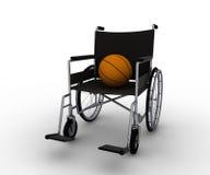 Rolstoel en basketbal Royalty-vrije Stock Afbeelding