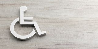 Rolstoel, gehandicapt die teken op houten achtergrond, exemplaarruimte wordt geïsoleerd 3D Illustratie royalty-vrije illustratie
