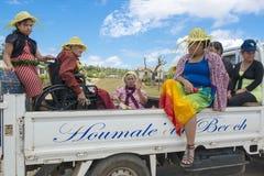 Rolstoelvervoer Tonga stock foto