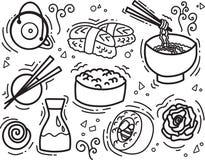 Rolt de het voedsel vectorillustratie van de schetslijn met Aziatische snacks, thee, noedels en Sushi traditioneel zeewier royalty-vrije stock foto's