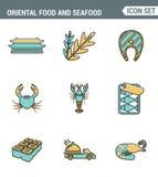 Rolt de vastgestelde de premiekwaliteit van de pictogrammenlijn van oosterse voedsel en zeevruchtensushi het kokende menu van Royalty-vrije Stock Afbeelding