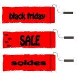 Rolverf met rode verf Black Friday en verkoop Royalty-vrije Stock Afbeelding
